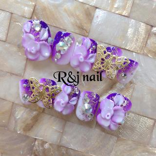 和風♡紫グラデ♡3Dお花♡ネイル