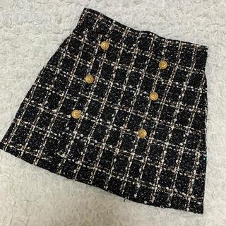 スワンキス(Swankiss)のブラック ツイードスカート (ミニスカート)