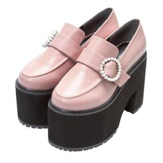 ユメテンボウ(夢展望)のパールバックル厚底ローファーパンプス(ローファー/革靴)