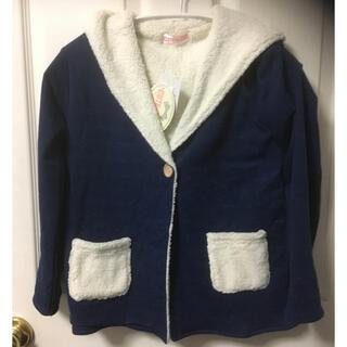 シマムラ(しまむら)の新品 しまむらボアフード付きコーディガン青110(ジャケット/上着)