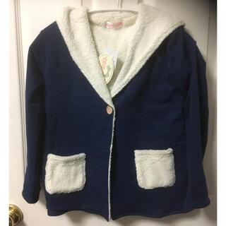 シマムラ(しまむら)の新品 しまむらボアフード付きコーディガン青120(ジャケット/上着)