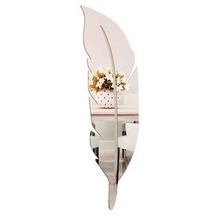 鏡 ウォールステッカー 割れない鏡 インテリア 羽根型 フェザーミラー壁紙シール(壁掛けミラー)
