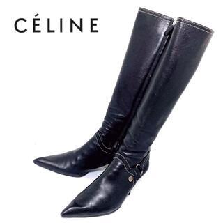 セリーヌ(celine)のCELINE セリーヌ 39 マカダム柄金具 ロングブーツ 黒 ブラック(ブーツ)