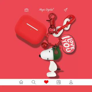 AirPods Pro エアーポッズ ケース スヌーピーのキーリング付き(ヘッドフォン/イヤフォン)