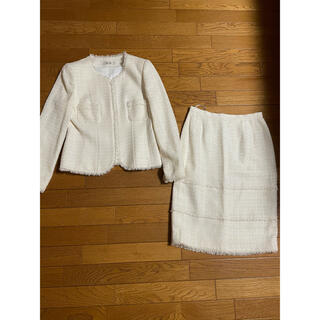 ギンザマギー(銀座マギー)の銀座マギー ノーカラー ツイードジャケット&スカート スーツ サイズ40、L(スーツ)