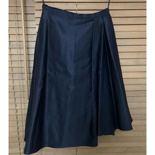 カルヴェン(CARVEN)のcarven アシンメトリー スカート ネイビー (ひざ丈スカート)