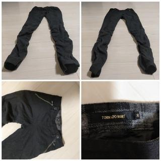 アツロウタヤマ(ATSURO TAYAMA)の送料無料トルネードマートウールスキニーシャーリングパンツ黒ブラック(その他)