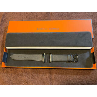 Hermes - 新品 未使用 エルメス レザーベルト 黒 Apple Watch 44mm