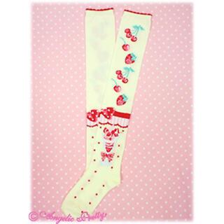 アンジェリックプリティー(Angelic Pretty)のStrawberry Parlour オーバーニー(靴下/タイツ)