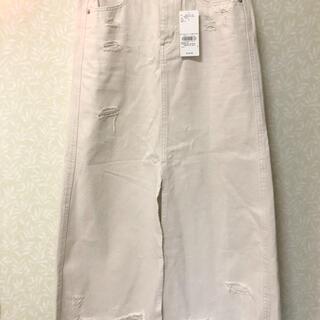 ジェイダ(GYDA)の新品未使GYDA ダメージホワイトデニムスカート 定価10990円(ロングスカート)