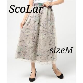 スカラー(ScoLar)の美品 スカラー  重ねシフォンのパンツスカート ワイドパンツ  Mサイズ(ロングスカート)