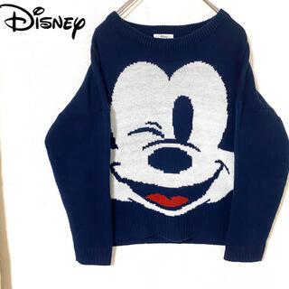ディズニー(Disney)の【激カワ】ディズニー ミッキー ウインク ニット セーター ネイビー M(ニット/セーター)