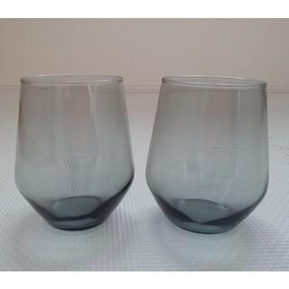 イケア(IKEA)のIKEA IVRIG グラス グレー 45cl 2ピース(グラス/カップ)