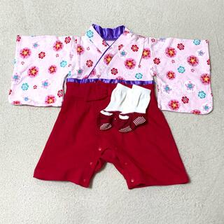 ベルメゾン(ベルメゾン)の袴ロンパース+足袋草履風ソックス(和服/着物)