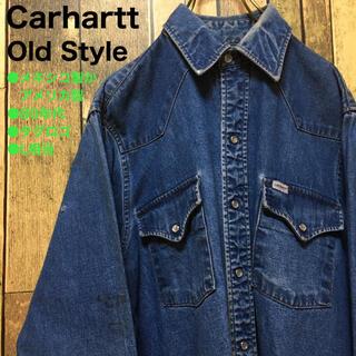 カーハート(carhartt)の《80年代後期当時物》Carhartt カーハート 青☆ウエスタンシャツ L(シャツ)