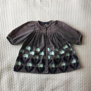 刺繍ワンピ チュニック 北欧 花 フラワー 95 リトルエスティクローゼット(ワンピース)