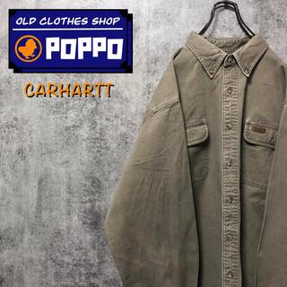 カーハート(carhartt)のカーハート☆レザーロゴ入りフラップ付きダブルポケットビッグワークシャツ(シャツ)
