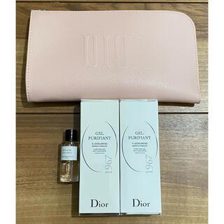クリスチャンディオール(Christian Dior)のミスディオール ノベルティ 4点セット ポーチ ハンドジェル2本 香水(ノベルティグッズ)