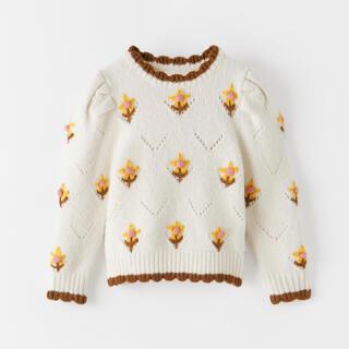 ZARA KIDS - 新品☆ザラキッズ 花柄刺繍 ニット セーター