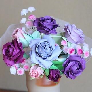 折り紙のバラの花束 紫系(その他)