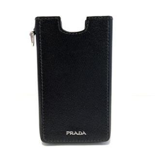 プラダ(PRADA)のプラダ 携帯電話ケース美品  - 黒 レザー(モバイルケース/カバー)