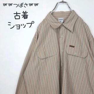 カーハート(carhartt)の【大人気】カーハート ストライプシャツ 革ロゴ 古着 ビックサイズ 90s 長袖(シャツ)