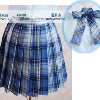 バブルス(Bubbles)の青白 チェック スカートとリボンのセット ゆめかわ  量産系 地雷系 jk制服(ひざ丈スカート)