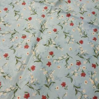 水色 花柄 織り柄 生地 90×200cm レトロ 手芸 ハンドメイド 裁縫 布(生地/糸)
