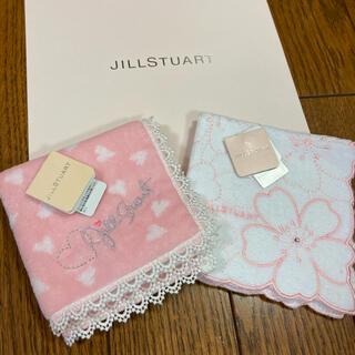 ジルスチュアート(JILLSTUART)の新品 ジルスチュアート ミニタオルハンカチ ハートと花柄(ハンカチ)