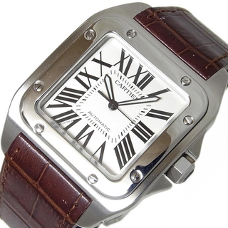 カルティエ(Cartier)のカルティエ Cartier サントス100 LM 腕時計 メンズ【中古】(レザーベルト)