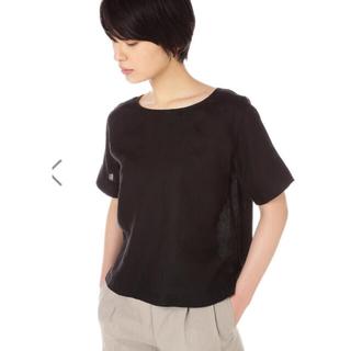 マーガレットハウエル(MARGARET HOWELL)のMARGARET HOWELL リネンカットソー  黒 1(シャツ/ブラウス(半袖/袖なし))