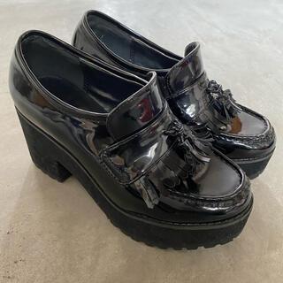 ジュエティ(jouetie)の★jouetie★  厚底ローファー ブラック Mサイズ フリンジ(ローファー/革靴)