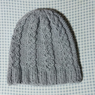 手編み帽子(グレー)(帽子)