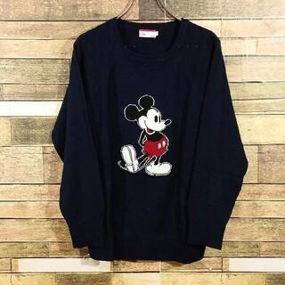ディズニー(Disney)のディズニー ミッキーマウス ネイビー セーター L レディース(ニット/セーター)