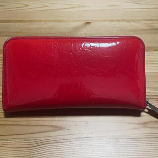 クリスチャンディオール(Christian Dior)のDIOR    エナメル財布 赤 長財布 財布(長財布)