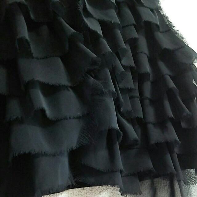ベスト 黒 フリル ビスチェ シフォン  レディースのトップス(ベスト/ジレ)の商品写真