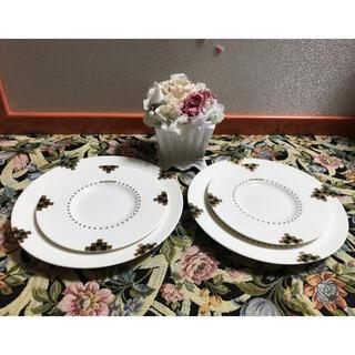 レノマ(RENOMA)のレノマ ペア プレート サイズ違い 4枚セット 市松模様(食器)