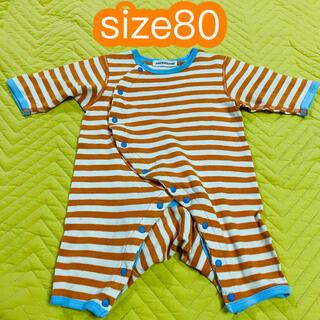 ampersand - 子供服女の子男の子size80 アンパサンド オレンジボーダーロンパース