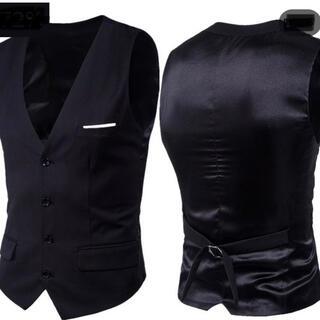 メンズ ジレベスト 黒 大きいサイズ 6L   (スーツベスト)