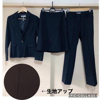 ナチュラルビューティーベーシック(NATURAL BEAUTY BASIC)のナチュラルビューティベーシック スーツ 3点セット 黒 ストライプ  S、M(スーツ)