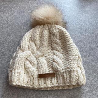 バーバリーブルーレーベル(BURBERRY BLUE LABEL)のBLUELABEL BURBERRY ファー付きニット帽(ニット帽/ビーニー)