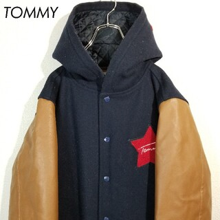 TOMMY - TOMMY ビッグロゴ スタジャン レザー切り替え 星ワッペン