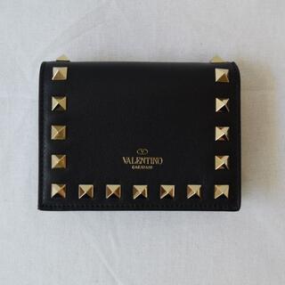 ヴァレンティノガラヴァーニ(valentino garavani)の【新品・未使用】Valentino ロックスタッズスモールウォレットブラック(財布)