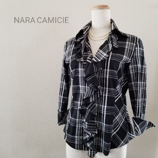 ナラカミーチェ(NARACAMICIE)のNARA CAMICIE フリルブラウス ブラックチェック(シャツ/ブラウス(長袖/七分))
