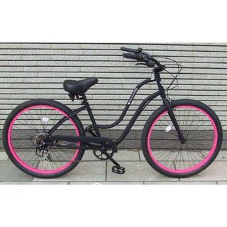 シマノ(SHIMANO)の新品未使用【ブラックピンク】前カゴ付き ブラックスワン ギア付き 26インチ(自転車本体)