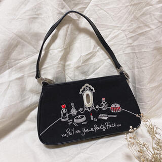 LULU GUINNESS - ルルギネス《刺繍ミニポーチ》ブラック ハンドバッグ