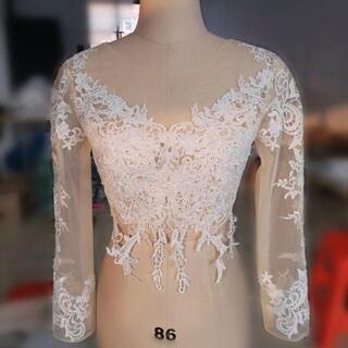 ウエディングドレス ボレロ トップスのみ 長袖  3D立体レース刺繍(ミディアムドレス)