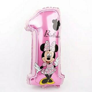 ディズニー(Disney)のディズニーバルーン★バースデー飾り★ミニーマウス1歳 女の子(その他)