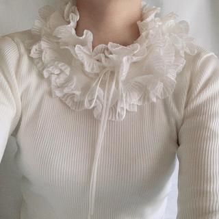 ロキエ(Lochie)の🇫🇷vintage rib frill knit(ニット/セーター)