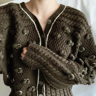 ロキエ(Lochie)のEurovintage popcorn brown knit cardigan(ニット/セーター)